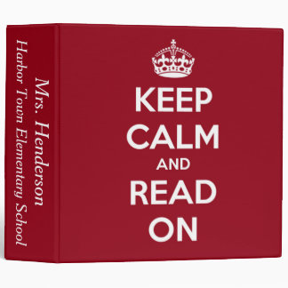 Keep Calm and Read On Red Personalized 3 Ring Binders