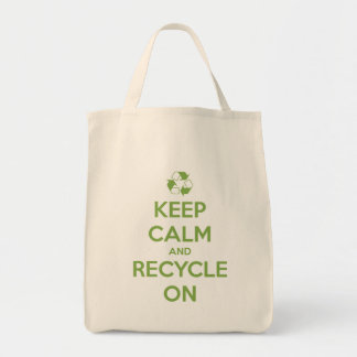 Keep Calm and Recycle On Green on Natural Tote Bag