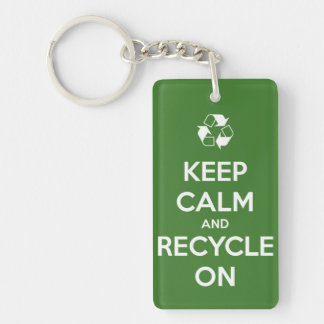 Keep Calm and Recycle On Green Personalized Keychain