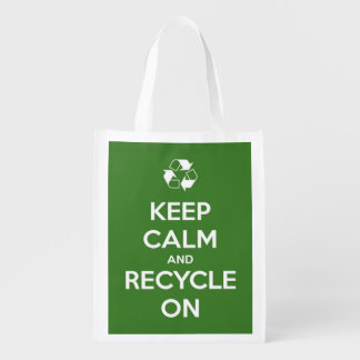 Keep Calm and Recycle On Green Reusable Tote Bag