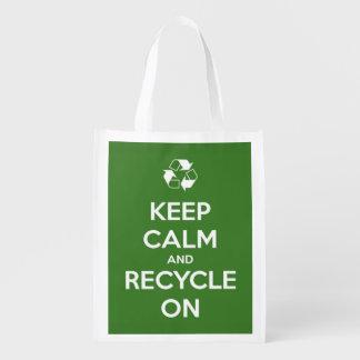 Keep Calm and Recycle On Green Reusable Tote Bag Reusable Grocery Bag