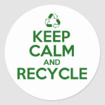 KEEP CALM AND RECYCLE ROUND STICKER