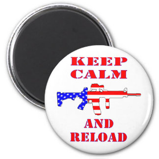 Keep Calm And Reload American Flag Rifle 2 Inch Round Magnet