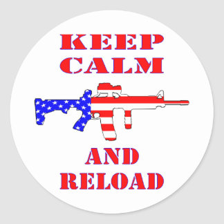 Keep Calm And Reload American Flag Rifle Classic Round Sticker