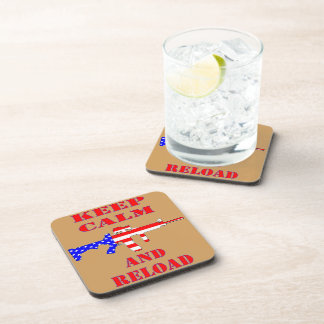 Keep Calm And Reload American Flag Rifle Coaster