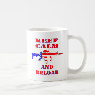 Keep Calm And Reload American Flag Rifle Coffee Mug