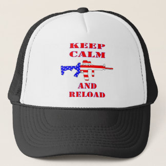 Keep Calm And Reload American Flag Rifle Trucker Hat