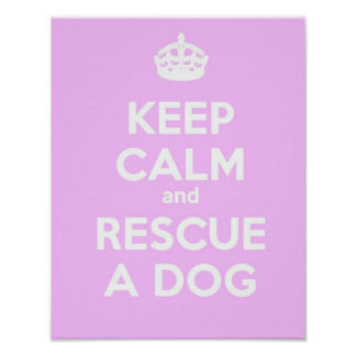 KEEP CALM AND RESCUE A DOG- PINK POSTER