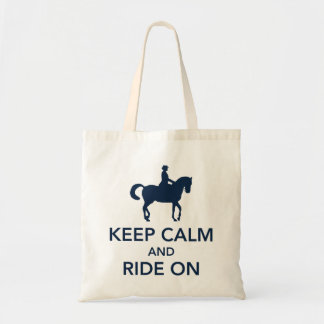 Keep Calm and Ride On Dressage Navy Blue Tote Bag