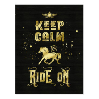 Keep Calm and Ride On Gold Horse Typography Postcard
