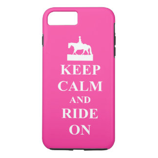 Keep calm and ride on, pink iPhone 7 plus case
