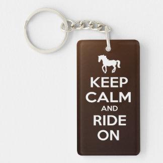Keep Calm and Ride On Single-Sided Rectangular Acrylic Keychain