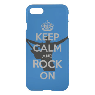 Keep Calm and Rock on Clear Blue iPhone 7 Case