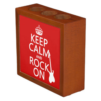 Keep Calm and Rock On (guitar)(any color) Desk Organizers
