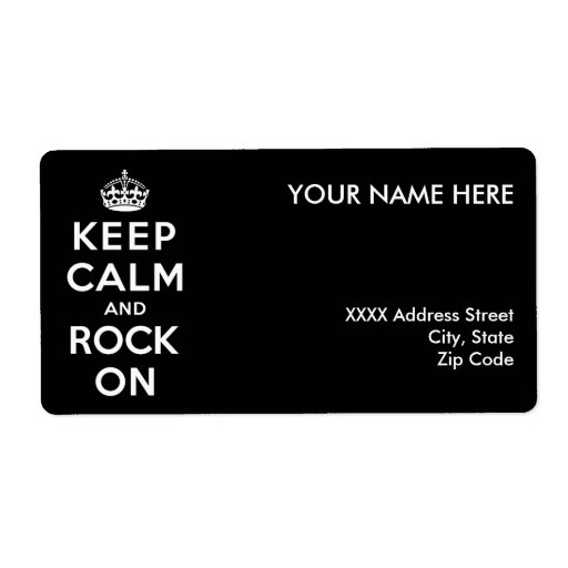 Keep Calm and Rock On Shipping Label