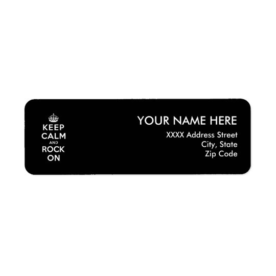 Keep Calm and Rock On Return Address Label