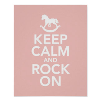 Keep Calm and Rock On rocking horse print  poster