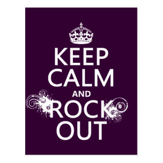Keep Calm and Rock Out (any background color) Postcard