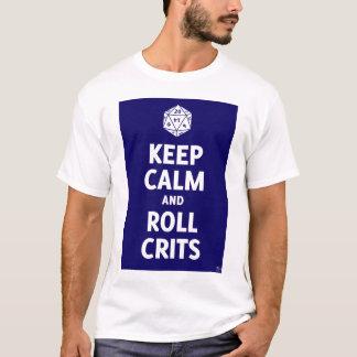Keep Calm and Roll Crits t-shirt (d20, blue)