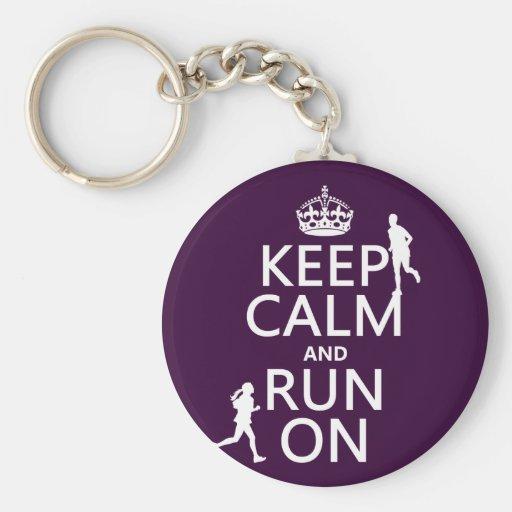 Keep Calm and Run On (customizable colors) Keychain