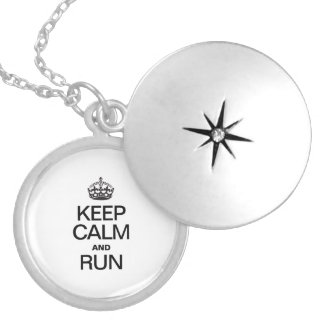 KEEP CALM AND RUN SILVER PLATED NECKLACE