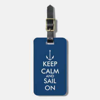 Keep calm and sail on anchor travel luggage tag