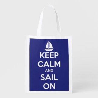 Keep Calm and Sail On Blue and White Personalized Reusable Grocery Bag