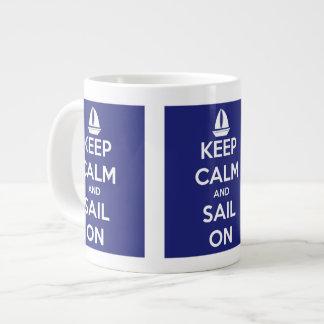 Keep Calm and Sail On Blue Jumbo Mug