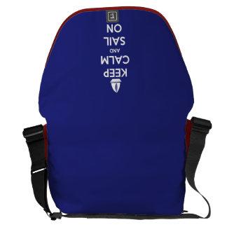 Keep Calm and Sail On Blue Messenger Bag