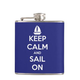 Keep Calm and Sail On Blue Personalized Flask