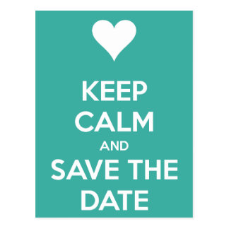 Keep Calm and Save the Date Blue Postcard