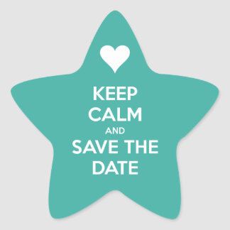 Keep Calm and Save the Date Blue Star Sticker