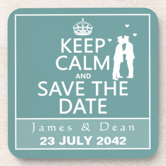 Keep Calm and Save the Date (fully customizable) Coasters