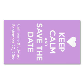 Keep Calm and Save the Date Lavender and White Business Card Magnet