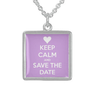 Keep Calm and Save the Date Lavender Necklaces