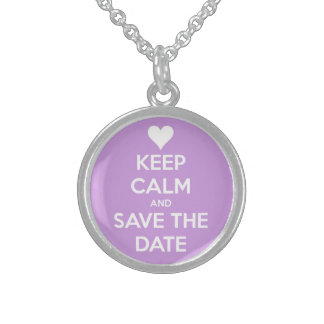 Keep Calm and Save the Date Lavender Round Pendant Necklace