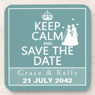 Keep Calm and Save The Date Lesbian Wedding Coaster