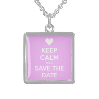 Keep Calm and Save the Date Pink Square Pendant Necklace