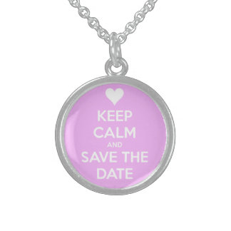 Keep Calm and Save the Date Pink Custom Necklace