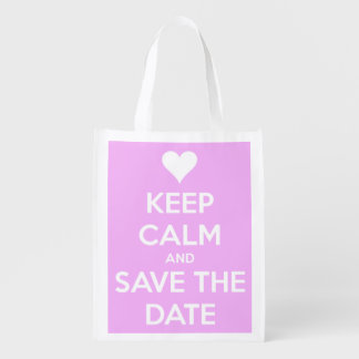 Keep Calm and Save the Date Pink Personalized Reusable Grocery Bags