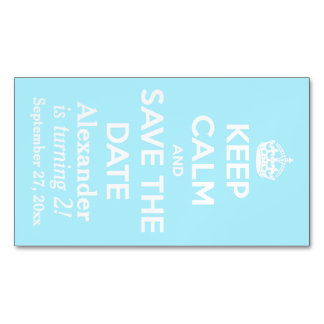 Keep Calm and Save the Date Summer Sky Blue Business Card Magnet