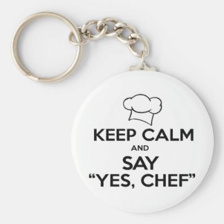 Keep Calm and Say Yes Chef Funny Kitchen Ware Keychain