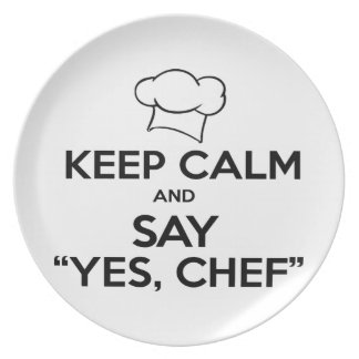 Keep Calm and Say Yes Chef Funny Kitchen Ware Plate