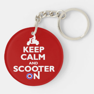 Keep calm and scooter on Red White Double-Sided Round Acrylic Keychain