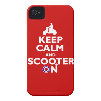 Keep calm and scooter on Red White iPhone 4 Case-Mate Cases