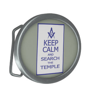 KEEP CALM AND SEARCH TEMPLE OVAL BELT BUCKLES
