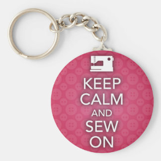 Keep Calm and Sew On Pink Keychain