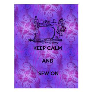 Keep Calm and Sew On Postcard