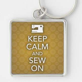 Keep Calm and Sew On Yellow Keychain