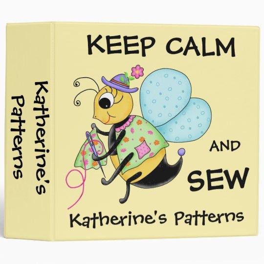 Keep Calm and Sew Whimsy Honey Bee Art 3 Ring Binders